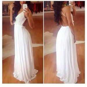 Backless white maxi dress